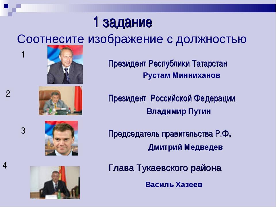 Соотнесите изображение с должностью 1 2 3 4 Президент Республики Татарстан Пр...