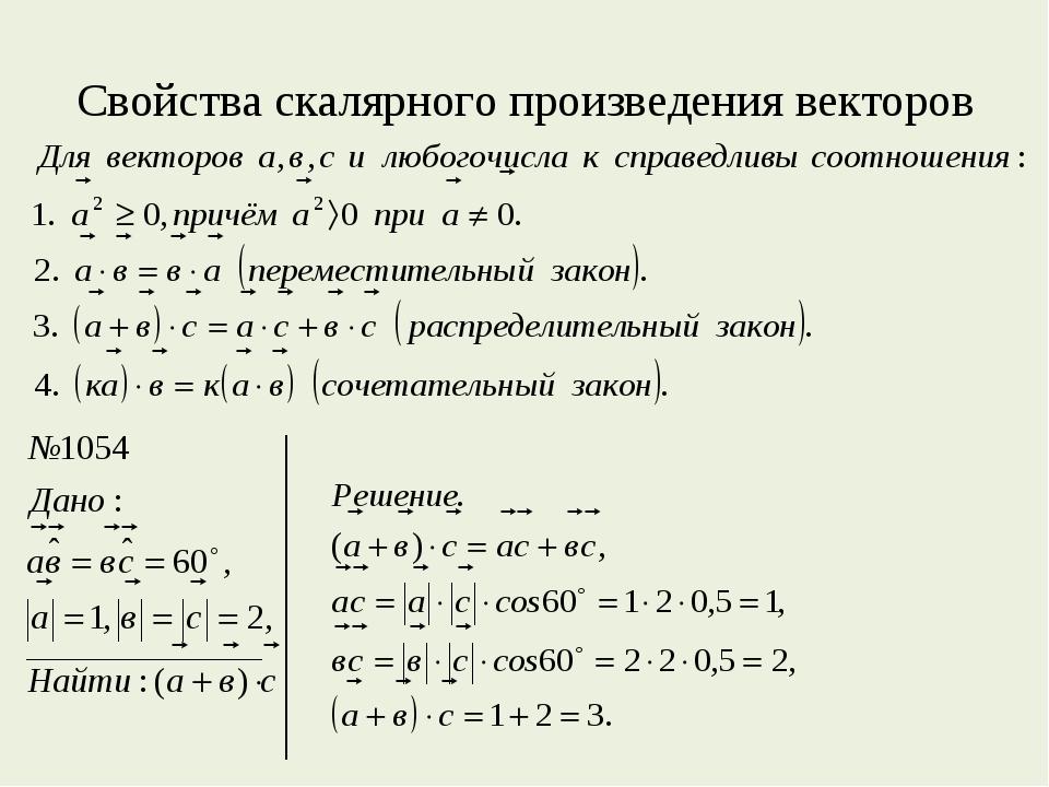 Свойства скалярного произведения векторов