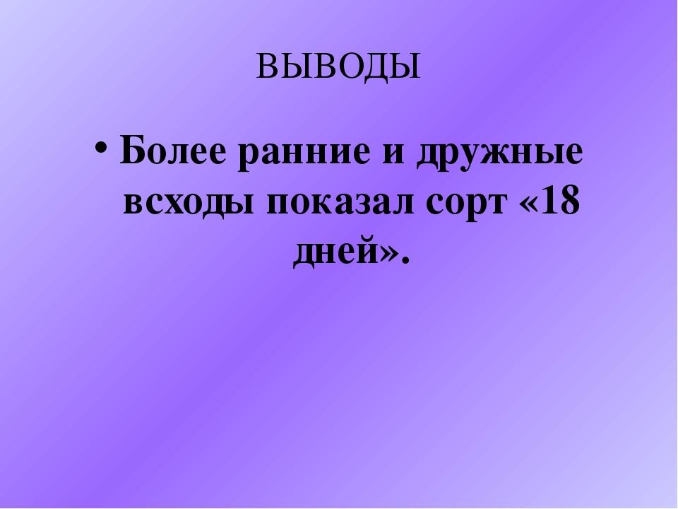 ВЫВОДЫ Более ранние и дружные всходы показал сорт «18 дней».