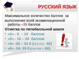 РУССКИЙ ЯЗЫК Максимальное количество баллов за выполнение всей экзаменационн