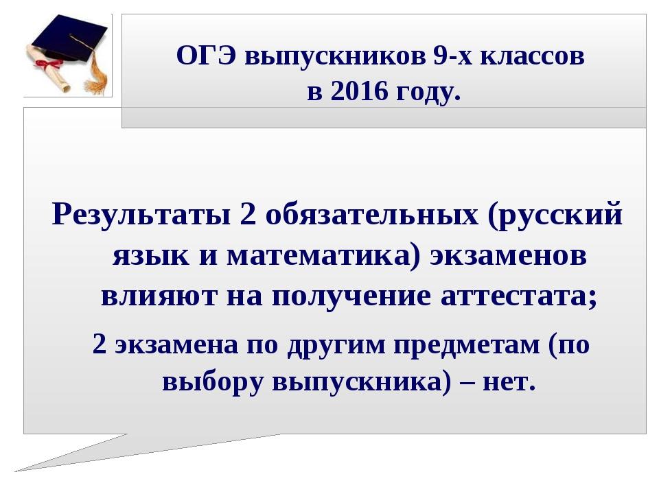 ОГЭ выпускников 9-х классов в 2016 году. Результаты 2 обязательных (русский я...