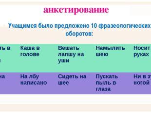 анкетирование Учащимся было предложено 10 фразеологических оборотов: , Ударит