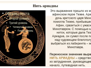 Нить ариадны Это выражение пришло из мифа об афинском герое Тезее. Ариадна, д