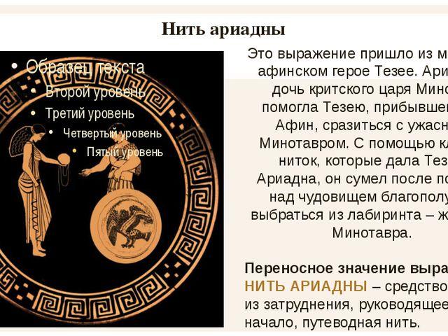 Нить ариадны Это выражение пришло из мифа об афинском герое Тезее. Ариадна, д...