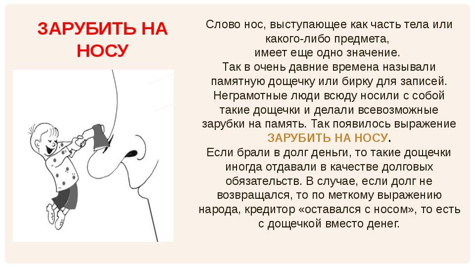 Слово нос, выступающее как часть тела или какого-либо предмета, имеет еще одн...