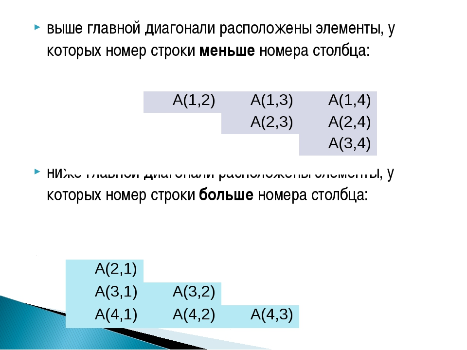 выше главной диагонали расположены элементы, у которых номер строки меньше но...
