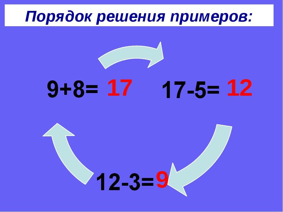 Порядок решения примеров: 17 12 9