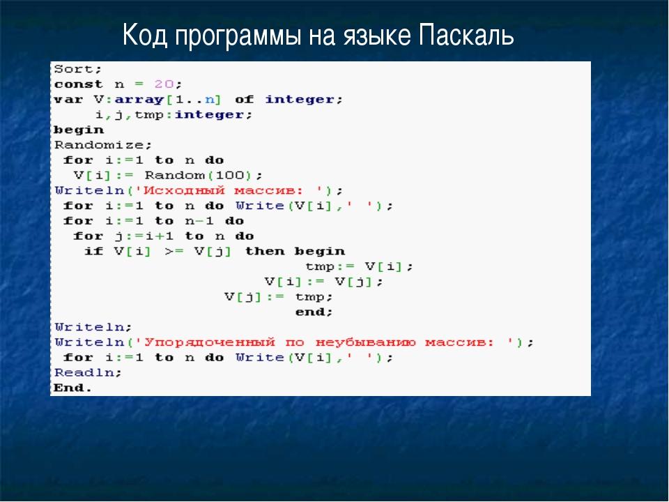 Код программы на языке Паскаль