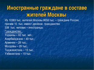 Иностранные граждане в составе жителей Москвы Из 10383 тыс. жителей Москвы 96