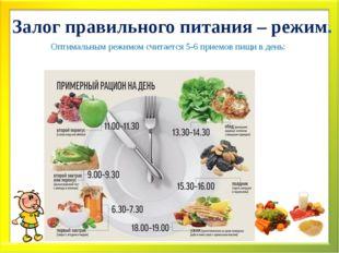 Залог правильного питания – режим. Оптимальным режимом считается 5-6 приемов