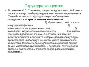 Структура концептов. По мнению Ю.С. Степанова, концепт представляет собой смы