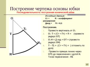 Построение чертежа основы юбки Построение. Провести вертикаль от О↓ О↓ Т = (С