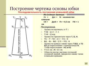 Построение чертежа основы юбки Построение. Провести вертикаль от Т ↓ Т↓Б = Д