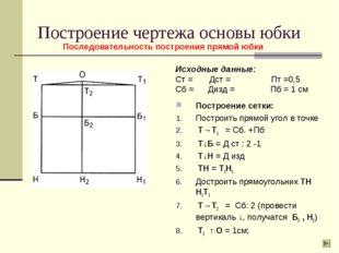 Построение чертежа основы юбки Исходные данные: Ст = Дст = Пт =0,5 Сб = Дизд