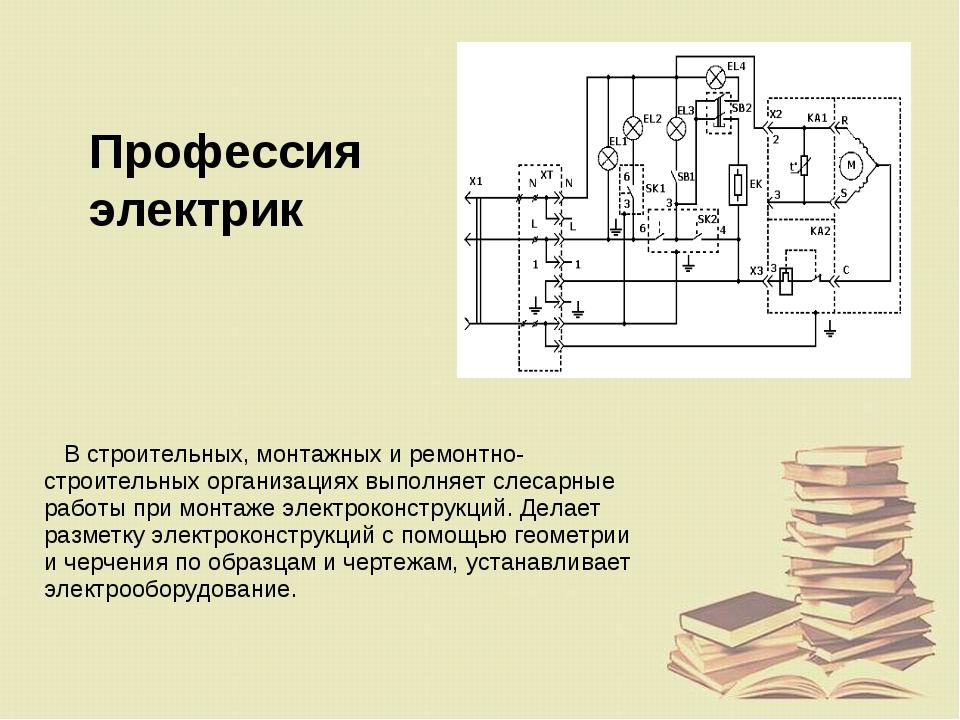 Профессия электрик В строительных, монтажных и ремонтно-строительных организа...