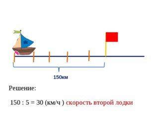 150км Решение: 150 : 5 = 30 (км/ч ) скорость второй лодки