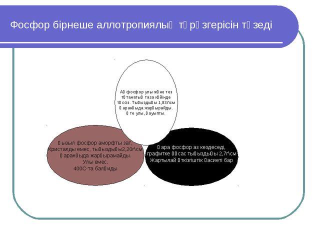 Фосфор бірнеше аллотропиялық түрөзгерісін түзеді Қызыл фосфор аморфты зат, Кр...