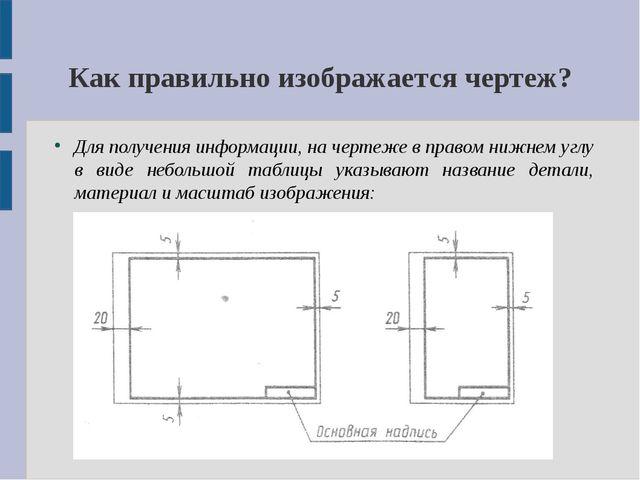 Как правильно изображается чертеж? Для получения информации, на чертеже в пра...
