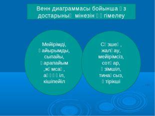 Венн диаграммасы бойынша өз достарының мінезін әңгімелеу Мейірімді, қайырымды