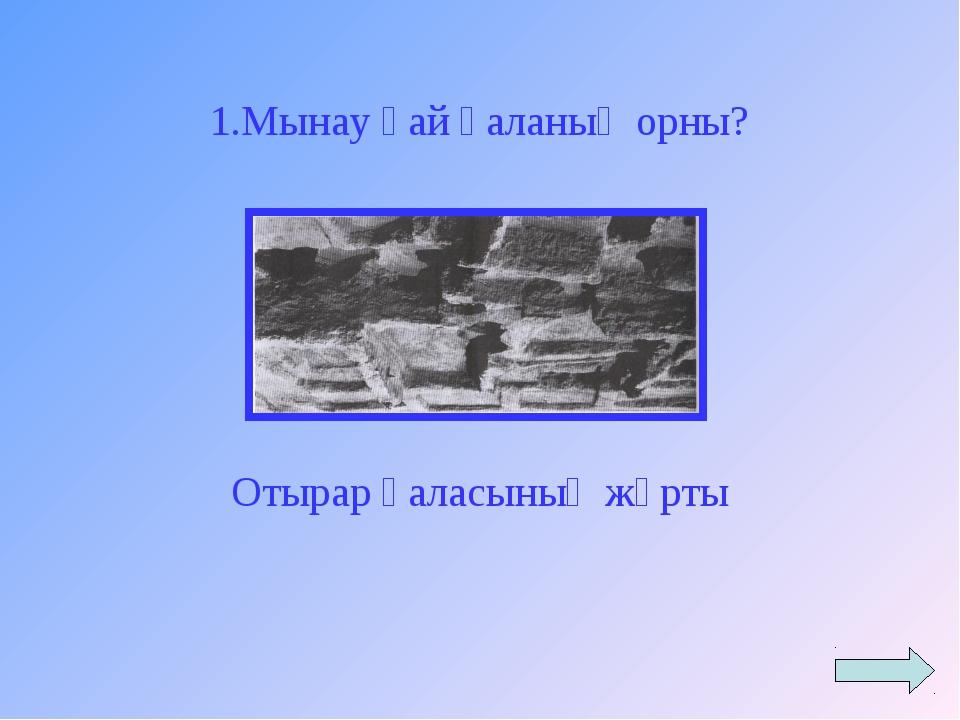 Отырар қаласының жұрты 1.Мынау қай қаланың орны?