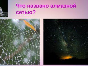 Что названо алмазной сетью?