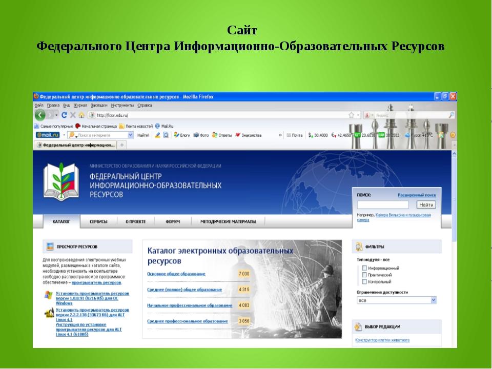 Сайт Федерального Центра Информационно-Образовательных Ресурсов