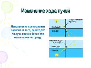 Изменение хода лучей Направление преломления зависит от того, переходят ли лу