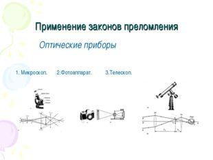 Применение законов преломления Оптические приборы 1. Микроскоп. 2.Фотоаппарат
