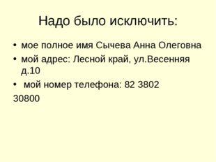 Надо было исключить: мое полное имя Сычева Анна Олеговна мой адрес: Лесной кр