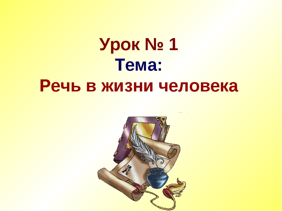 Урок № 1 Тема: Речь в жизни человека