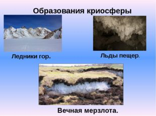 Образования криосферы Ледники гор. Льды пещер. Вечная мерзлота.