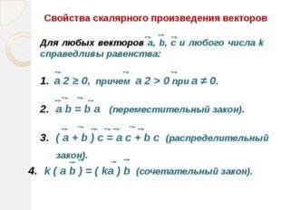 Свойства скалярного произведения векторов a 2 ≥ 0, причем a 2 > 0 при а ≠ 0.