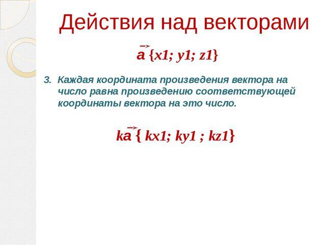 Действия над векторами Каждая координата произведения вектора на число равна...
