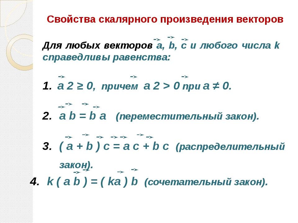 Свойства скалярного произведения векторов a 2 ≥ 0, причем a 2 > 0 при а ≠ 0....