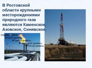 В Ростовской области крупными месторождениями природного газа являются Каменс