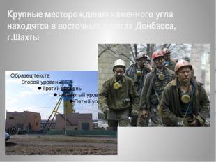 Крупные месторождения каменного угля находятся в восточных отрогах Донбасса,