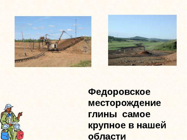 Федоровское месторождение глины самое крупное в нашей области