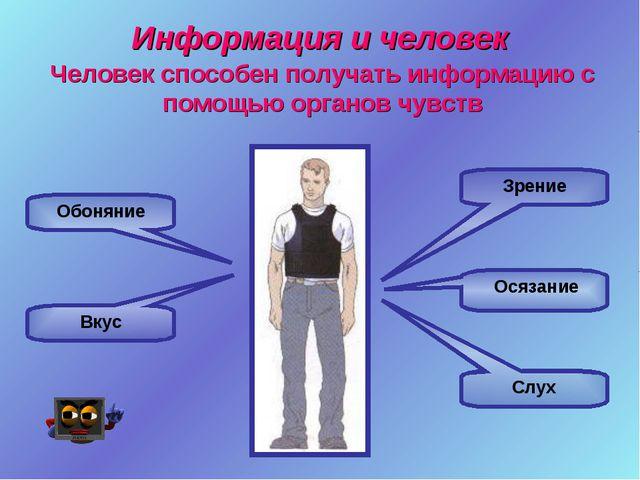 Информация и человек Зрение Слух Осязание Обоняние Вкус Человек способен полу...