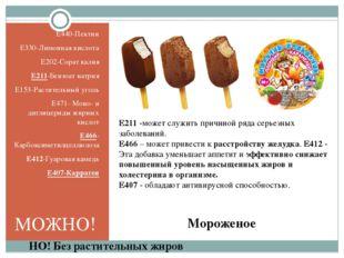 Мороженое E440-Пектин E330-Лимонная кислота E202-Сорат калия E211-Бензоат нат