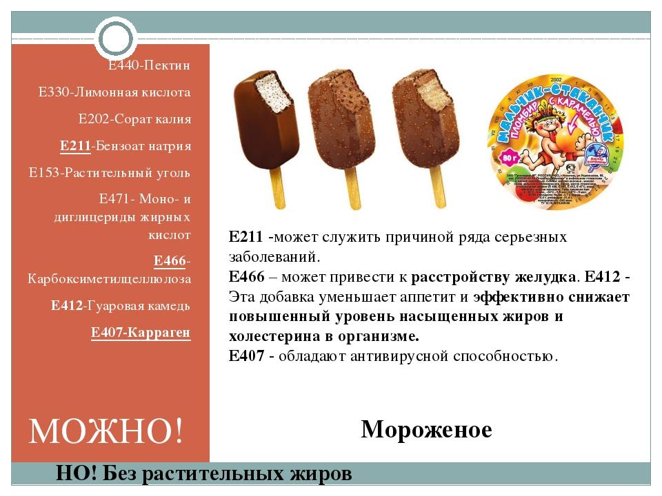 Мороженое E440-Пектин E330-Лимонная кислота E202-Сорат калия E211-Бензоат нат...