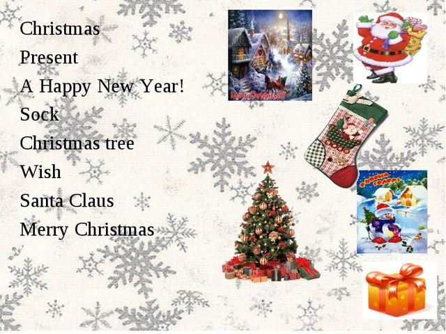 Christmas Present A Happy New Year! Sock Christmas tree Wish Santa Claus Merr...