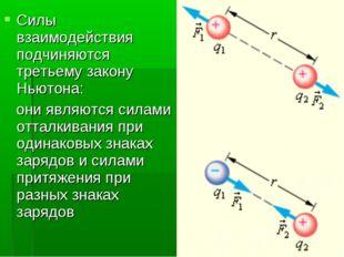 Силы взаимодействия подчиняются третьему закону Ньютона: они являются силами
