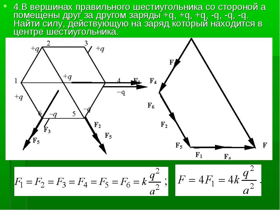 4.В вершинах правильного шестиугольника со стороной а помещены друг за другом...