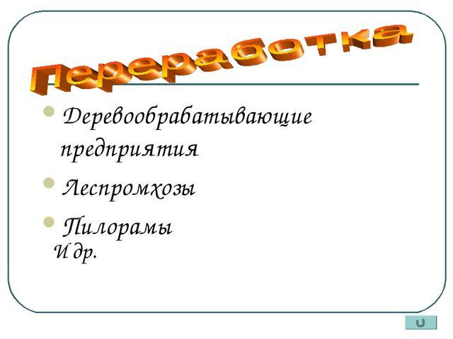 Деревообрабатывающие предприятия Леспромхозы Пилорамы И др.
