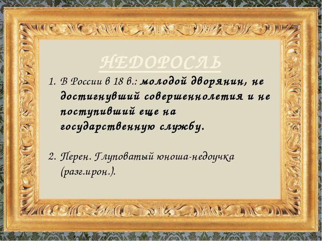 НЕДОРОСЛЬ В России в 18 в.: молодой дворянин, не достигнувший совершеннолетия...