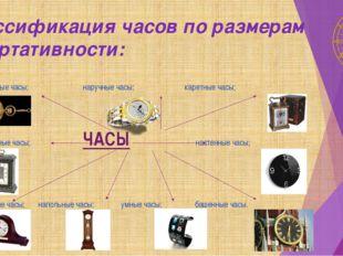 Классификация часов по размерам и портативности: карманные часы; наручные час