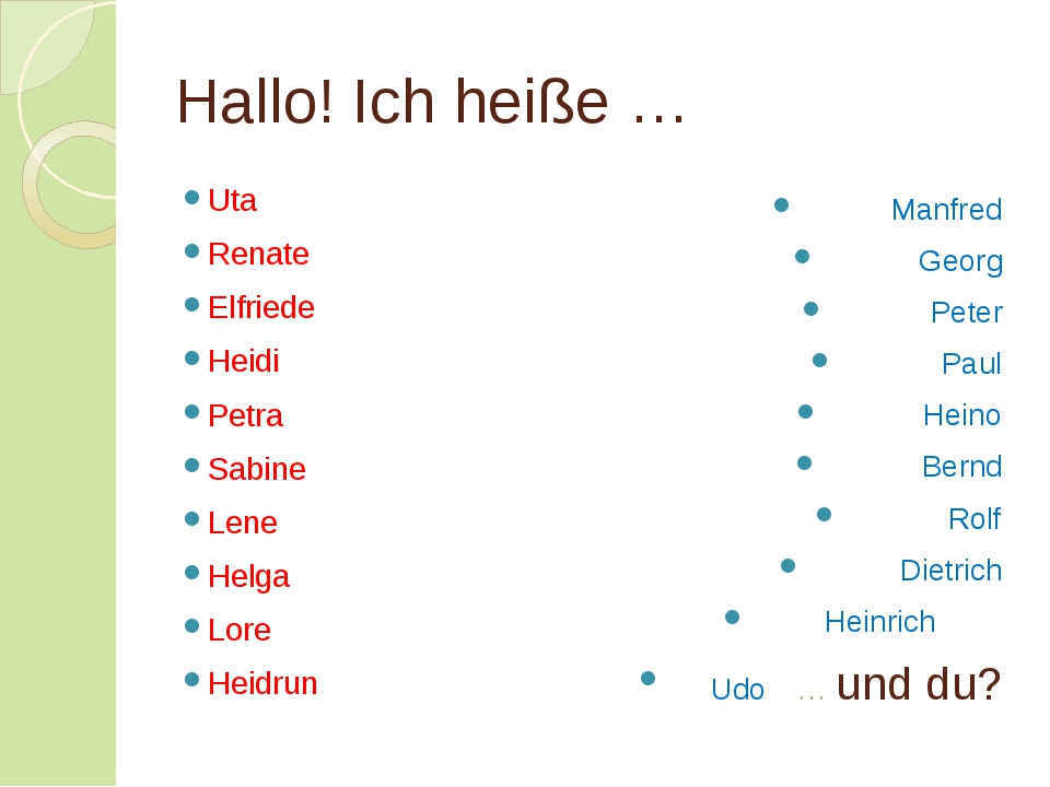 Hallo! Ich heiße … Uta Renate Elfriede Heidi Petra Sabine Lene Helga Lore Hei...