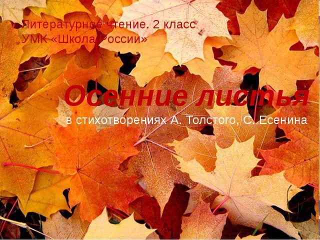 Осенние листья в стихотворениях А. Толстого, С. Есенина Литературное чтение....