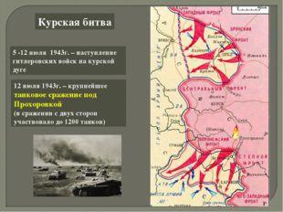 Курская битва 5 -12 июля 1943г. – наступление гитлеровских войск на курской д