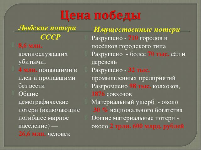 Людские потери СССР 8,6 млн. военнослужащих убитыми, 4 млн. попавшими в плен...